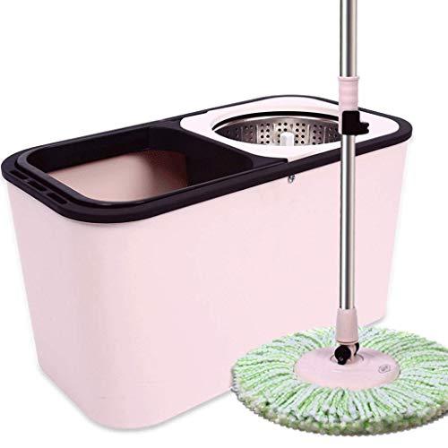 YUTRD ZCJUX Mop - Spin Mop Bucket Sistema de Suministros for Limpieza de Pisos Fregona giratoria de Acero Inoxidable con Ruedas