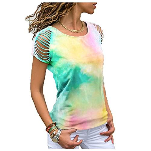 Wsgyj52hua 2021 Verano Mujeres Europeas Y Americanas Tie-Dye Agujero Quemado Flor Sin Tirantes Camiseta De Manga Corta