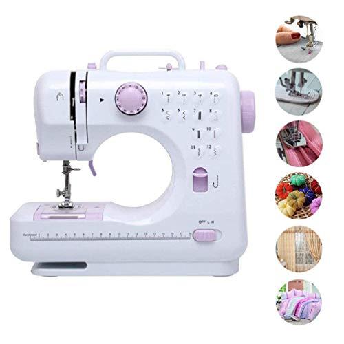 ATRNA draagbare mini-naaimachine, dubbele schroefdraad, dubbele snelheid, naaimachines met voetpedaal voor beginners, elektronische naaimachine, 12 snijkans, overlock-functie omkeren paars