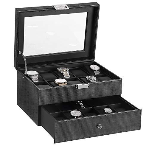 BEWISHOME Watch Box Organizer 20 Slots Watch Case Men Display Storage Case Metal Hinge Carbon Fiber Design Glass Top Large Holder Black SSH04C
