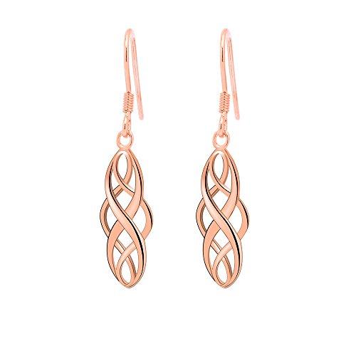 S925 Silver Earrings Enjoit Celtic Knot Drop Dangle Twist Wave Symbol Inifity Ear Loops For Womens