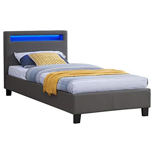 IDIMEX Lit Simple pour Adulte ou Enfant LUCENO Couchage 90 x 190 cm avec sommier 1 Place pour 1 Personne, tête de lit avec LED intégrées, revêtement synthétique Gris