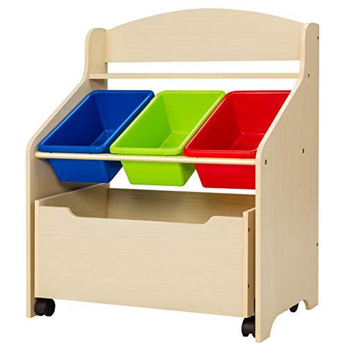 GYMAX Toy Organizer,Kids Storage Unit with 3 Bins & 1 Movable Drawer,...