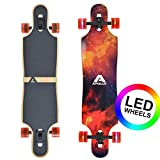 [page_title]-Apollo Longboard Redshift 40' Komplettboard mit LED-Wheels und High Speed ABEC Kugellagern, Drop Through Freeride Skaten Cruiser Board