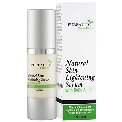 Skin Lightening Cream Dark Spot Corrector - Brightening Serum for Face, Underarm, Inner Thighs, Bikini Areas with Kojic Acid and Jojoba Oil by Pureauty Naturals