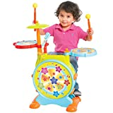 Best Choice Products Kids Electronic Toy Drum Set w/ Mic, Stool, Drumsticks, Multicolor