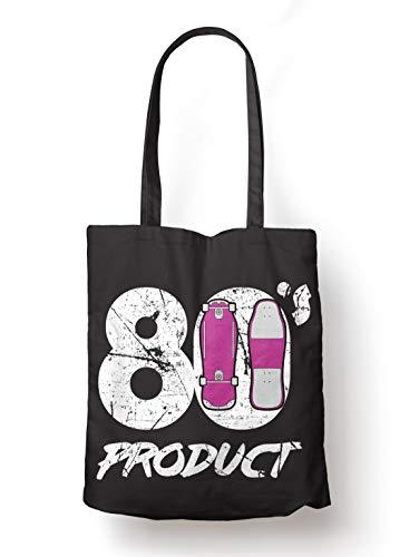 BLAK TEE Vintage Retro 80's Product Skateboard Organic Cotton Reusable Shopping Bag Black