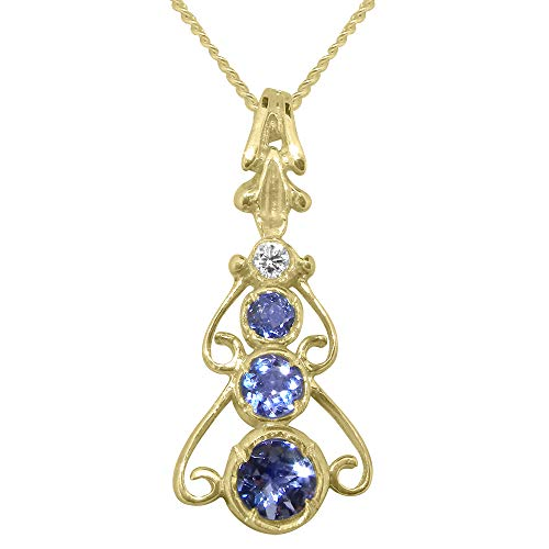 9ct Gold Genuine Natural Tanzanite & Diamond Womens Bohemian Pendant & Chain Necklace - Chain length 20
