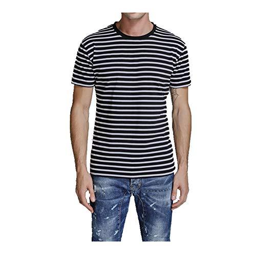 NOBRAND T-shirt à manches courtes pour homme à manches courtes et col rond Coupe ajustée - Noir - XXL