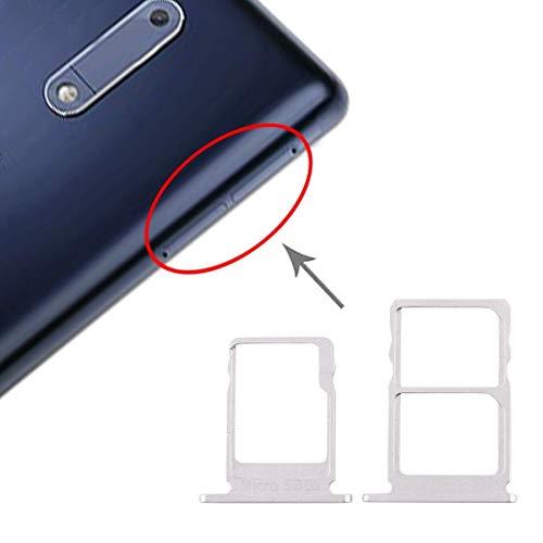 La selección de Cici La Bandeja de Tarjeta SIM Bandeja de Tarjeta SIM + + Micro SD Card Bandeja for Nokia 5 / N5 TA-1024 TA-1027 TA-1044 TA-1053 (Negro) (Color : White)