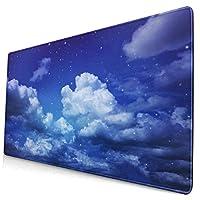 マウスパッド 大型 ゲーミング キーボードパッド 雲 紺色 星 空 個性 ゴム底 光学マウス ゲーム 特大 40cm×75cm 滑り止め エレコム 耐久性が良い おしゃれ かわいい 防水 サイバーカフェ オフィス最適 適度な表面摩擦