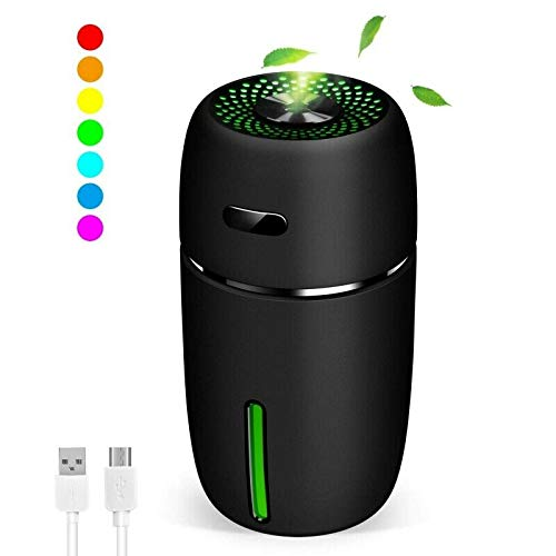 RONSHIN Accesorios para Auto, Mini humidificador de Aire USB difusor de Aroma para Coche Aceite Esencial purificador de Aire con LED Negro