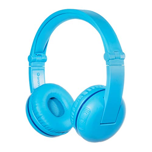 ONANOFF BuddyPhones Play, Wireless Bluetooth Volume-Limiting Kids Headphones, 18-Hour Battery Life, 4 Volume Settings of 75, 85, 94dB and StudyMode, Includes Backup Cable for Sharing, Blue