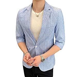 Ptorジャケット メンズ テーラードジャケット 7分袖 サマージャケット スリム ビジネス スーツ カジュアル フォーマル アウター 大きいサイズ 夏(4ライトブルー)