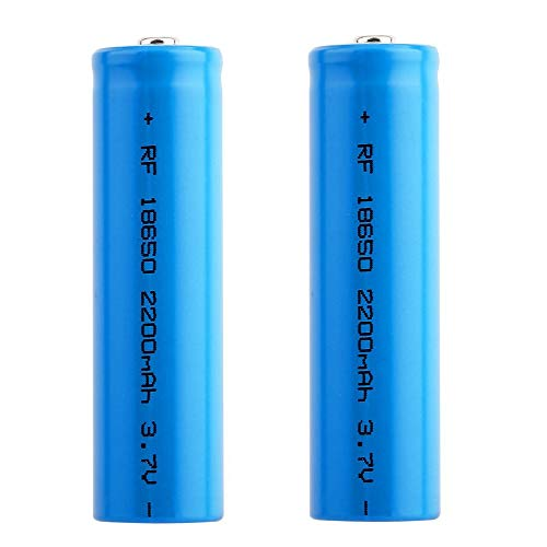 3.7V 18650 Lithium Battery, 2200mah Large Capacity Rechargeable Battery Lithium Li-ion ICR Battery Button Top Batteries for LED Torch Flashlights Headlamps (2PCS)