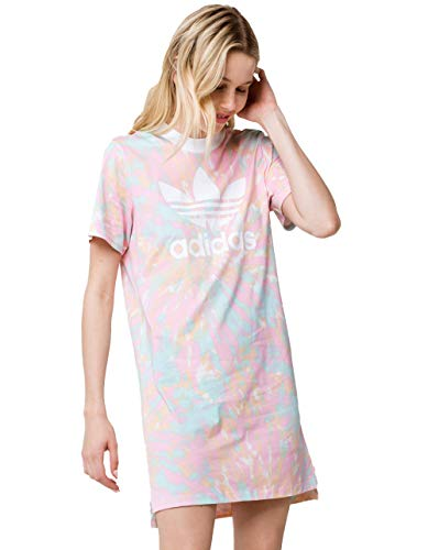 adidas Originals Women's Tee Dress, Top: Multi/White/True Pink/Vapour Blue Bottom: glow orange, L