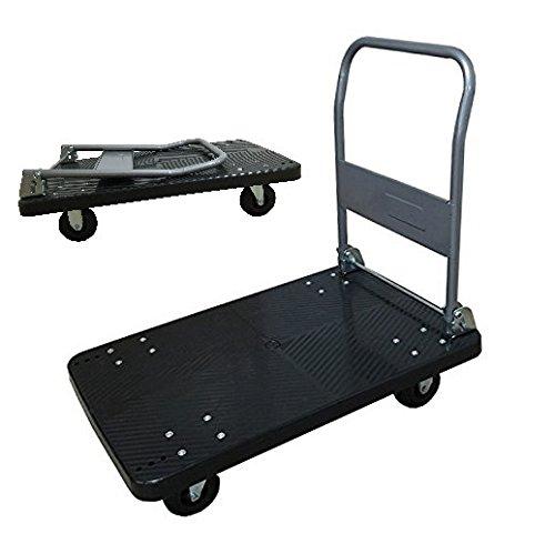 【軽量台車】手押し台車 黒(大)300kg 業務用台車 折りたたみ式台車 軽量 静音