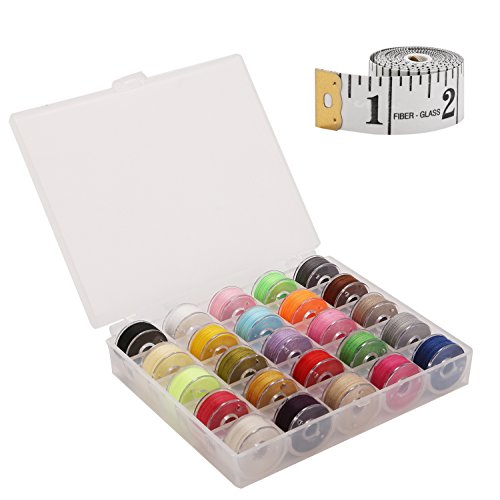 YCHY Sewing Kit Bobbins and Sewing Thread with Case and Soft Measuring Tape for Brother Singer Babylock Janome Kenmore (Assorted Colors)
