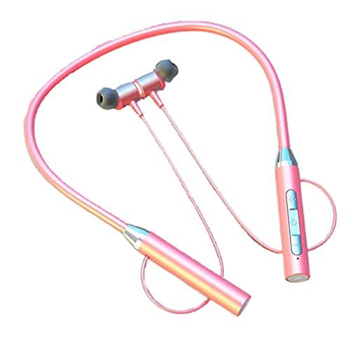 Nrew YD08-2 Inalámbrico 5.0 Tarjeta enchufable Colgante para Cuello Auriculares Auriculares Deportivos Rosa