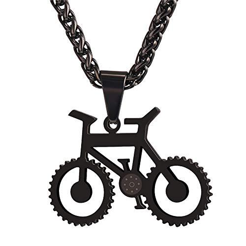 MAWEI Collar De Bicicleta Colgante Y Cadena De Bicicleta De Acero Inoxidable De Color Negro para Hombres/Mujeres Joyería De Moda Estilo Hippie Rock-Negro