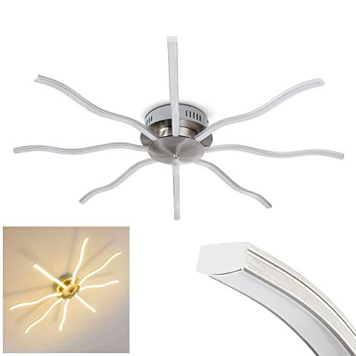 LED Deckenleuchte Komossa, Deckenlampe aus Metall in Nickel-matt in Sonnen-Form, 8-flammig m. geschwungenen Lichtleisten, 30 Watt, 2640 Lumen, Lichtfarbe 3000 Kelvin (warmweiß)
