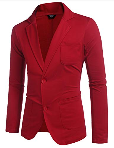 COOFANDY Men's Lightweight Sports Coats Two Button Cotton Casual Suit Blazer Jackets Cotton Sleepwear Wine Red
