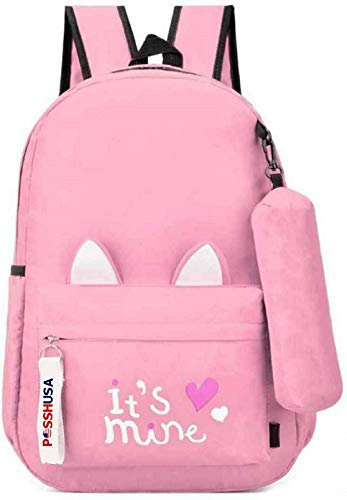 Posshusa Women's Backpack Bag for School, College (Pink)