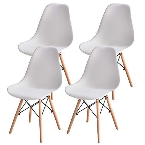 MUEBLES HOME - Juego de 4 sillas de comedor modernas de mediados de siglo, sillas de plástico con patas de madera para comedor, dormitorio, sala de estar, sillas montadas lateralmente, color blanco