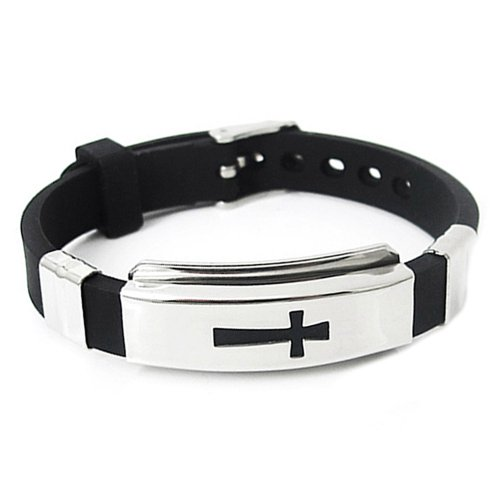 Fashion Croix en acier inoxydable pour homme Bracelet en caoutchouc Noir Bracelet