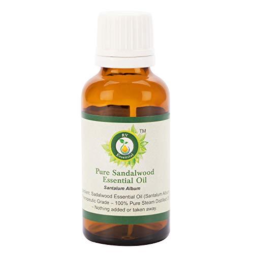 R V Essential Reines Ätherische Sandelholz Öl 5ml (0.169 Unzen) - Santalum Album (100% reiner und natürlicher Dampf destilliert) Pure Sandalwood Essential Oil