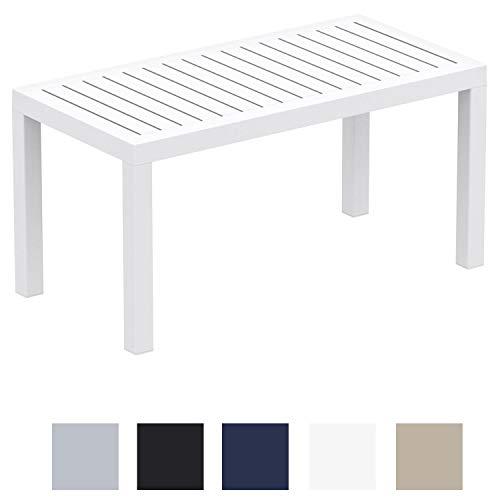 CLP Table Lounge Ocean - Table de Jardin Résistante aux Intempéries et aux Rayons UV - Table de Terrasse ou Véranda en Plastique Solide - Couleur au Choix : Blanc