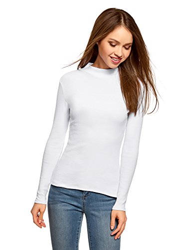 oodji Ultra Mujer Suéter Básico de Cuello Alto de Algodón, Blanco, ES 42 / L