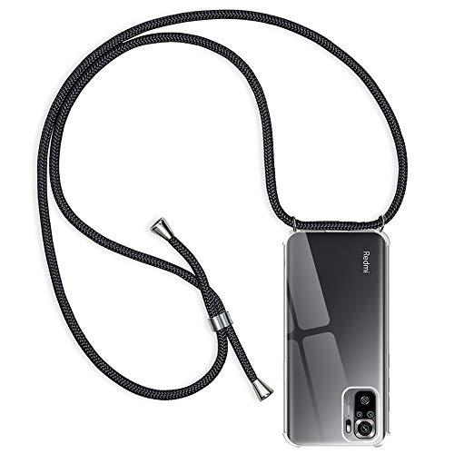 Rosyheart Handykette Hülle Kompatibel mit Xiaomi Redmi Note 10S/ Note 10, Transparent Silikon Handyhülle mit Band für Redmi Note 10S/ Note 10 Schutzhülle mit Kordel Schwarz