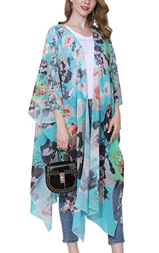 Hibluco - Blusa de gasa para mujer, diseño floral, para la playa, para encima del bikini S83 S