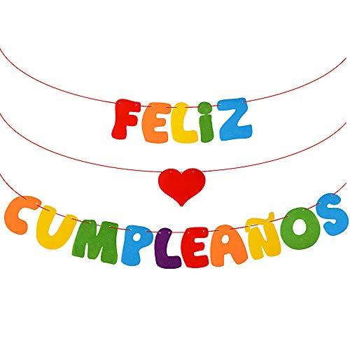 VINFUTUR Decoración Fiesta Cumpleaños, Bandera Feliz Cumpleaños Fieltro Banner Feliz Cumpleaños Español Banderín Colgante Colorido para Decoración Fiesta Hogar