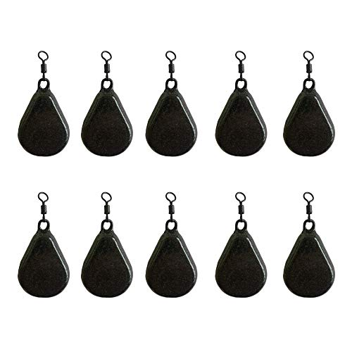 BZS Carp fishing Weights Flat Pear with Swivel Available in Smooth and Textured Finish (1.5oz- 42.52g, Smooth)
