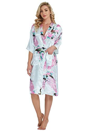 Westkun Kimono Japones Mujer Albornoz Vestido de Satén Pavo Real Novia Pijamas Largo Sexy y Elegante de Seda Bata Camisón Robe Lencería Cardigan(Azul Claro,S)