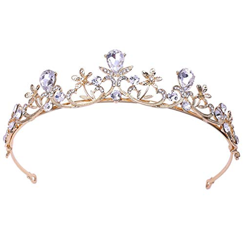 Lurrose Tiara de corona de diamantes de imitación decorativa con corona de...