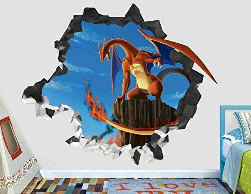 SULI - Adhesivo decorativo para pared con diseño de Pokémon y dragón Power en 3D