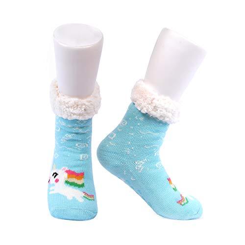 Conysan Lammfell verdickte Bodensocken, warme Zuhause gewendete Damensocken, rutschfeste Strickteppichsocken (Blau)