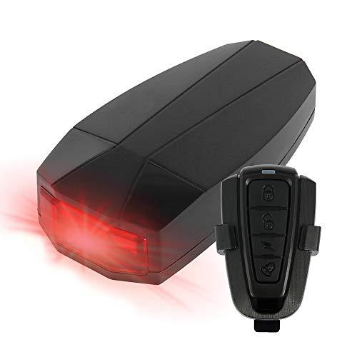 XUNLAN Durable 4 en 1 Alarma antirrobo a Prueba de Agua Alarma de Seguridad con Control Remoto inalámbrico Alterter Lights Lock Warner Lámpara de Bicicleta Accesorios Wearable (Color : Black)