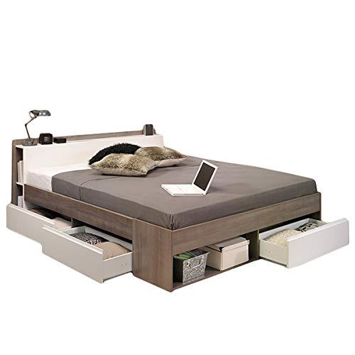 Funktionsbett 140 * 200 cm Grau/Weiß inkl 3 Roll-Bettkästen Jugendzimmer Kinderzimmer Schlafzimmer Kinderbett Jugendbett Jugendliege Bettliege