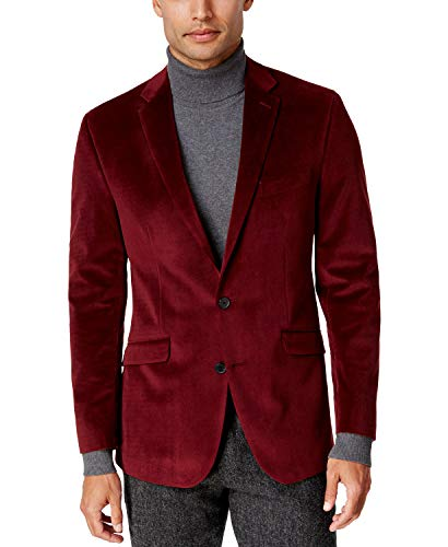 WINTAGE Men's Velvet Two Buttoned Notch Lapel Party Maroon Coat Blazer