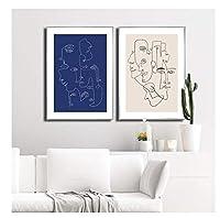 Chenjiaxu ミニマリスト抽象顔ポスター北欧スタイルのキャンバス絵画線画プリントモーデンの壁の写真リビングルームの装飾用-40X50Cmx2フレームなし