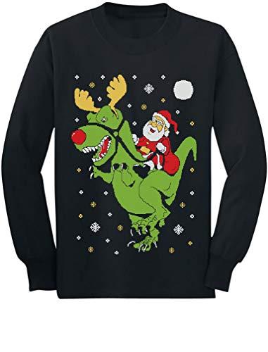 T-Rex Santa Ride Funny Ugly Christmas Sweater Toddler/Kids Long sleeve T-Shirt 5/6 Black