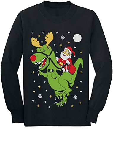T-Rex Santa Ride Funny Ugly Christmas Sweater Toddler Kids Long Sleeve T-Shirt 5/6 Black
