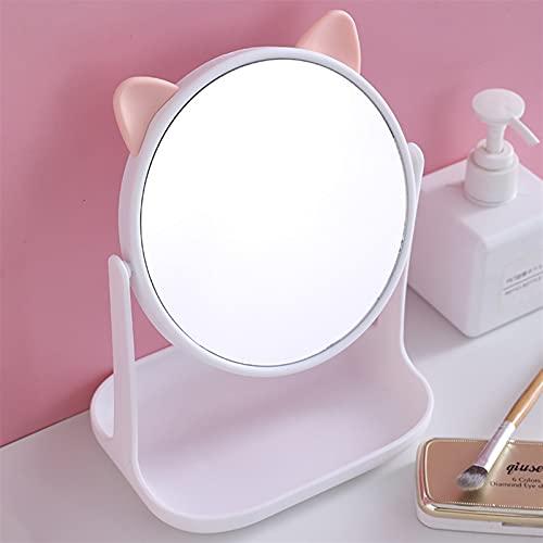 YSJJZDE Espejo para maquillarse Nuevo Espejo Plegable de Maquillaje sin luz con Almacenamiento de Escritorio Princesa 360 rotativo Lindo Conejo Orejas Mesa Mesa de Mesa Espejo cosmético (Color : A2)