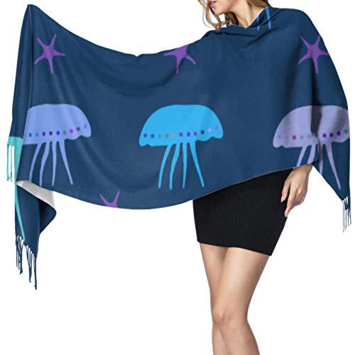 Linda criatura submarina nutria marina bufanda envolvente de cachemira bufanda de cachemira ligera bufanda ligera para niñas 77x27 pulgadas / 196x68cm grande suave pashmina extra cálida