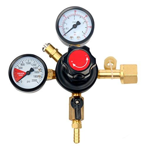 YaeBrew Dual Gauge Co2 Draft Beer Dispensing Regulator - Primary High Pressure Double Gauge Mixed Gas Co2 Regulator CGA320