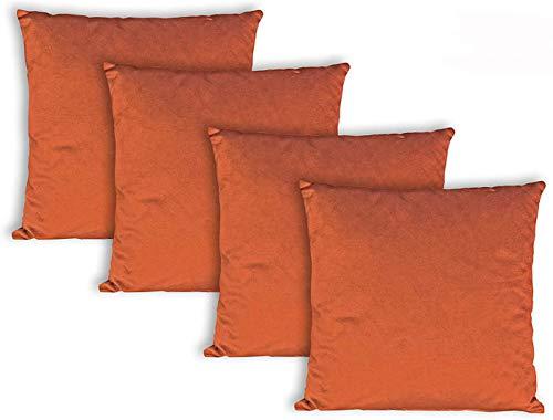 Milanino Dekokissen 40x40 mit Füllung und Bezug | 4 Stück Couchkissen Sofakissen Set | samtweiche Zierkissen mit Reißverschluss | quadratische Deko Kissen für Wohnzimmer- Sofa & Couch (Orange)
